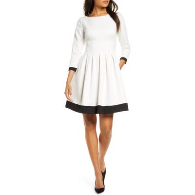 Eliza J Dot Textured Colorblock Fit & Flare Dress, Ivory