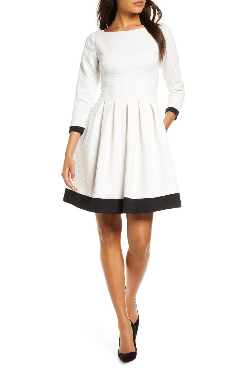 ELIZA J Dot Textured Colorblock Fit & Flare Dress, Main, color, IVORY/ BLACK