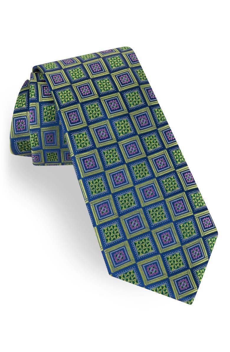TED BAKER LONDON Geometric Silk Tie, Main, color, GREEN