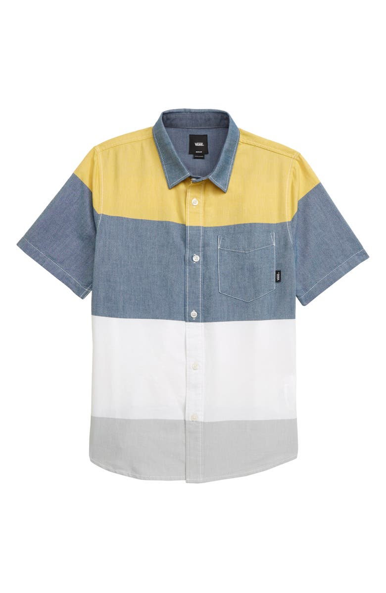 VANS Houser Colorblock Short Sleeve Oxford Shirt, Main, color, GIBRALTER SEA/ SULPHUR