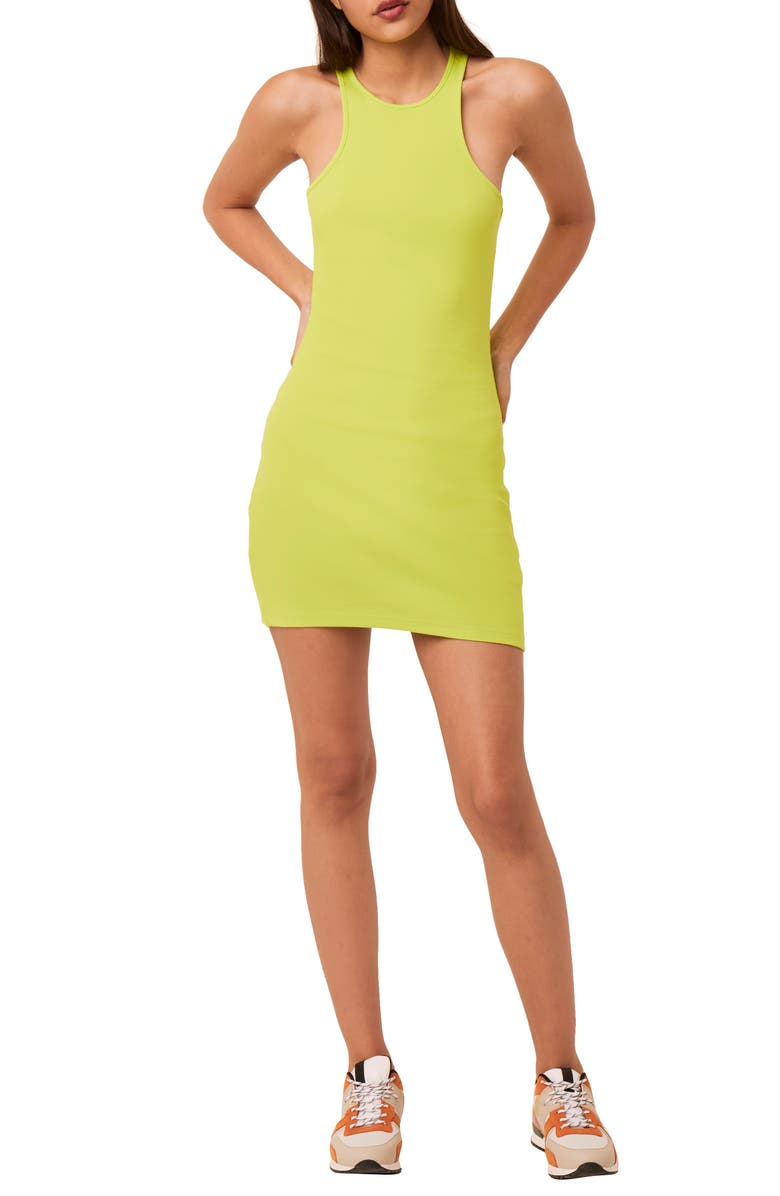 FRENCH CONNECTION Rasha Rib Dress, Main, color, LIME PUNCH