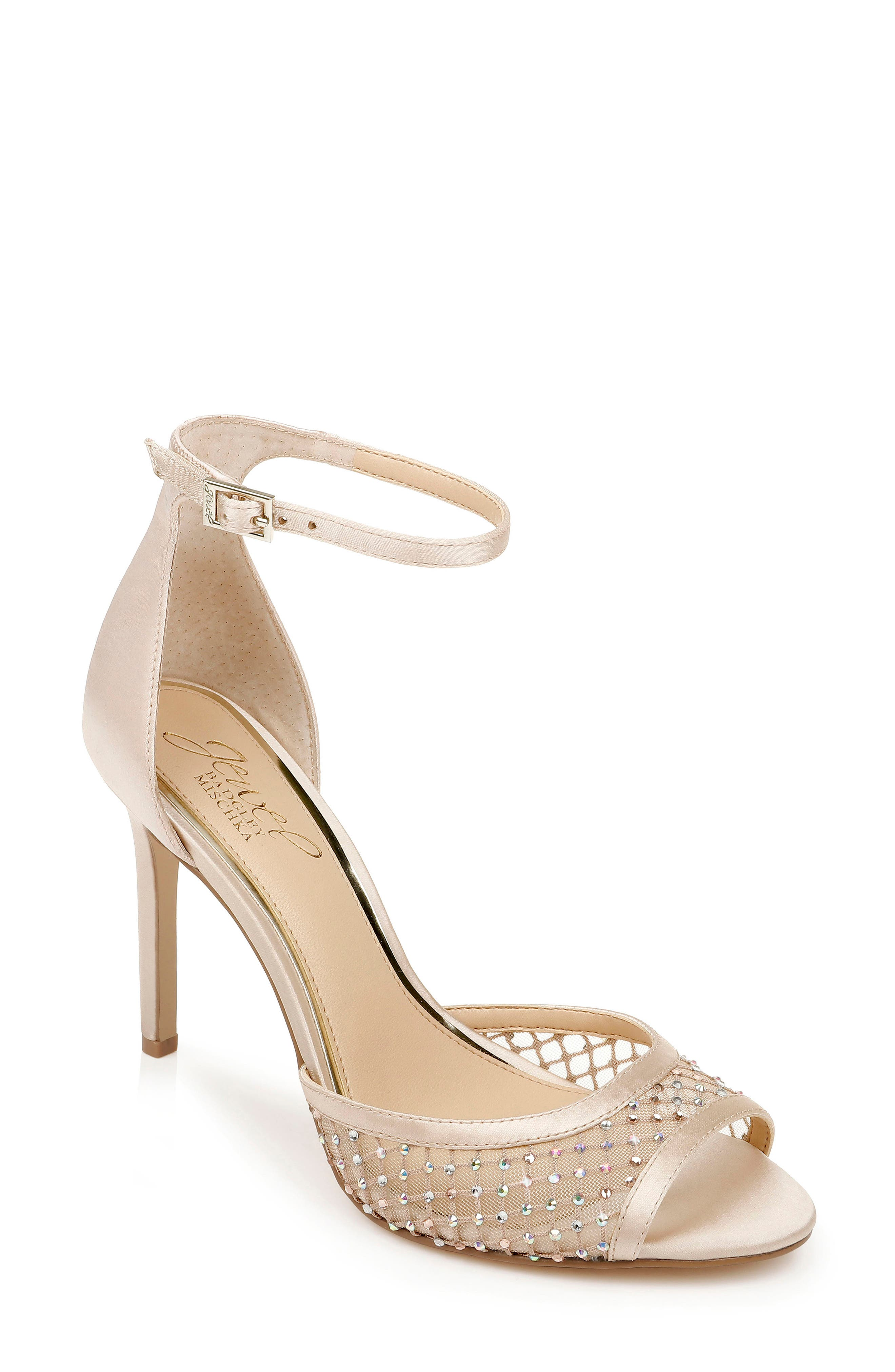 Crystal-dotted mesh fashions the toe strap of a glittery metallic party sandal secured by a slim ankle strap. Style Name: Jewel Badgley Mischka Crystal Embellished Sandal (Women). Style Number: 5998993. Available in stores.