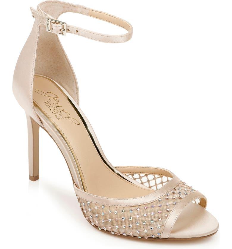 JEWEL BADGLEY MISCHKA Crystal Embellished Sandal, Main, color, CHAMPAGNE