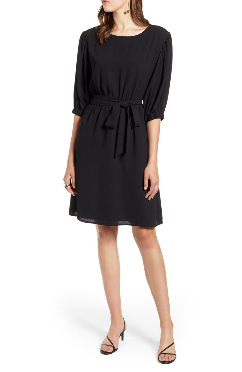 HALOGEN<SUP>®</SUP> Tie Waist Dress, Main, color, BLACK