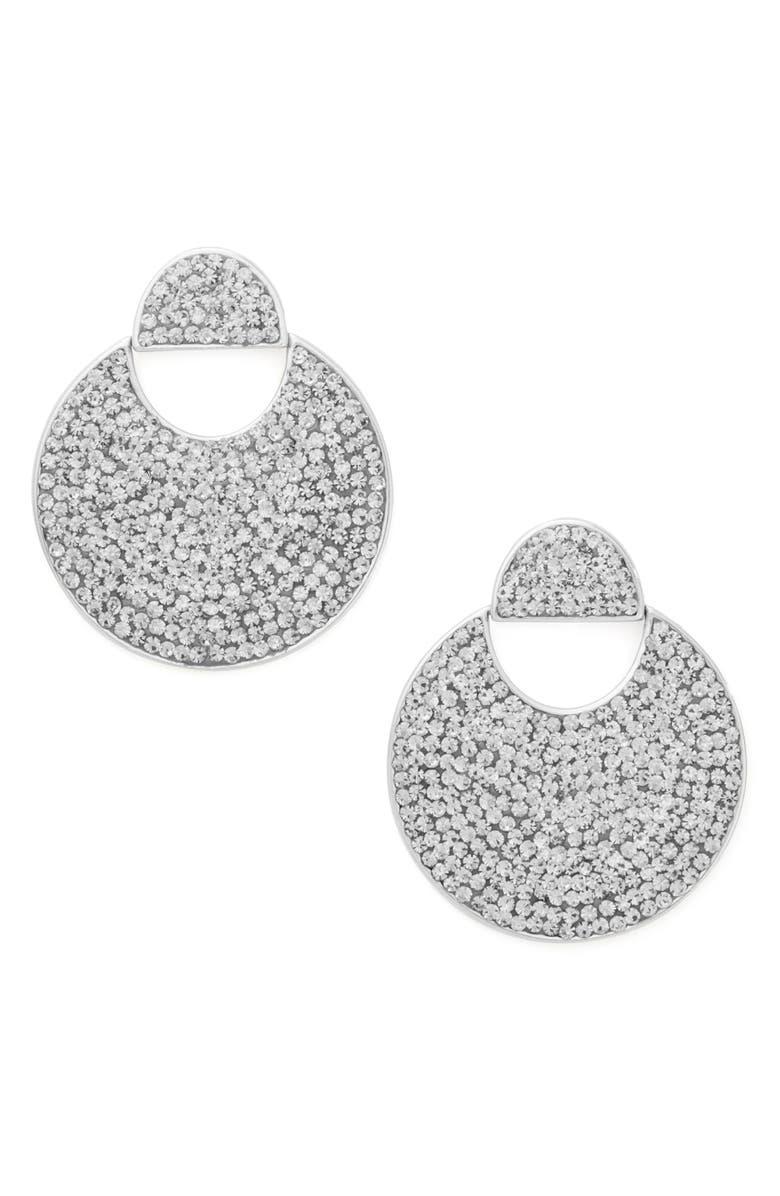 KATE SPADE NEW YORK mod scallop pavé drop earrings, Main, color, 100