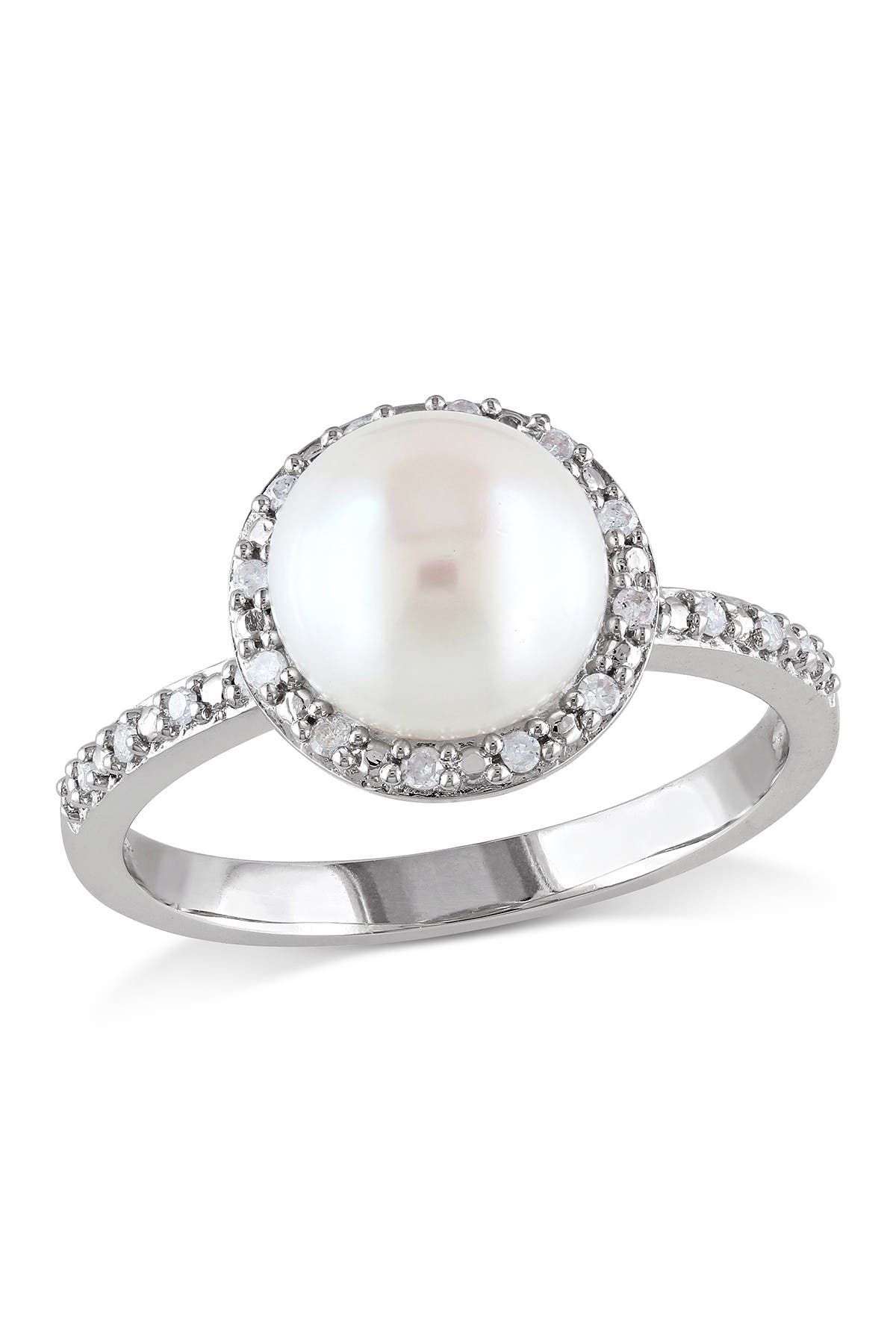 Image of Delmar Sterling Silver 8-8.5mm White Freshwater Pearl & Diamond Halo Ring