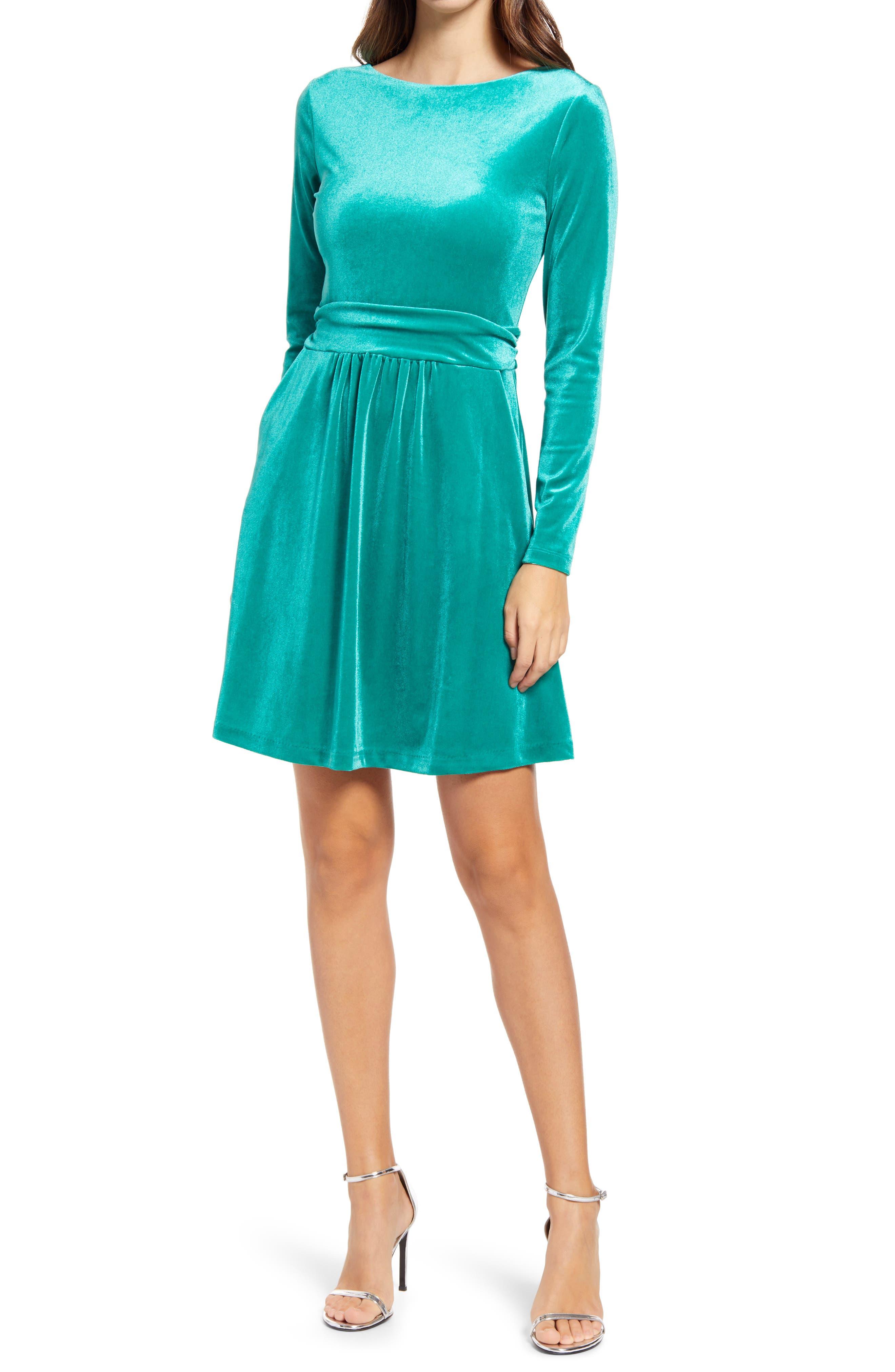 Image of BODEN Abigail Long Sleeve Velvet Dress