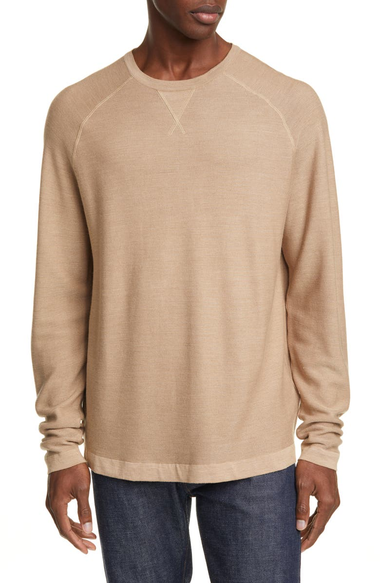 ERMENEGILDO ZEGNA Classic Fit Silk, Cotton & Cashmere Sweater, Main, color, CAMEL