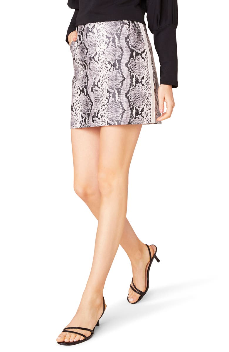 BB DAKOTA The Prowl Snake Print Faux Leather Miniskirt, Main, color, TAUPE