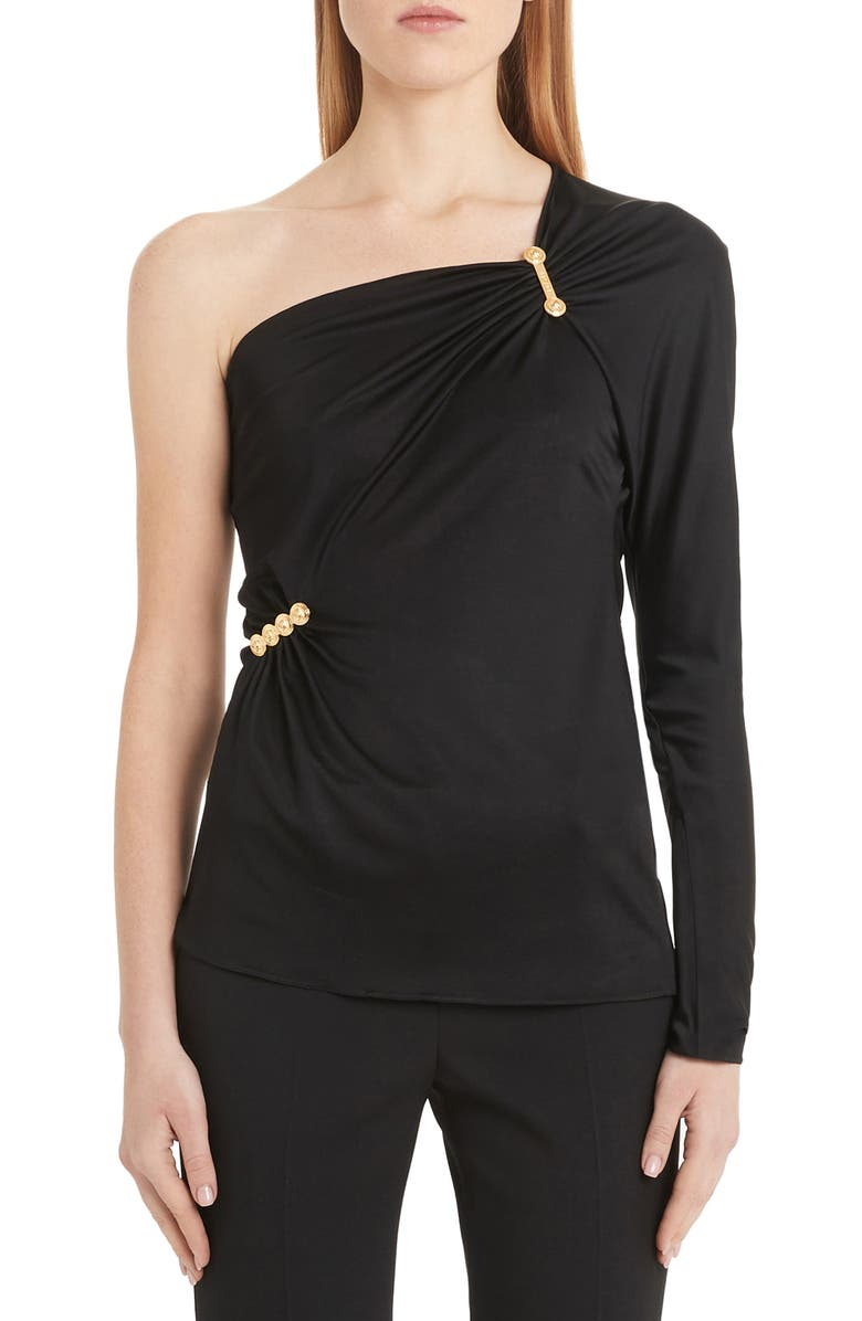 VERSACE Safety Pin Detail One-Shoulder Top, Main, color, BLACK