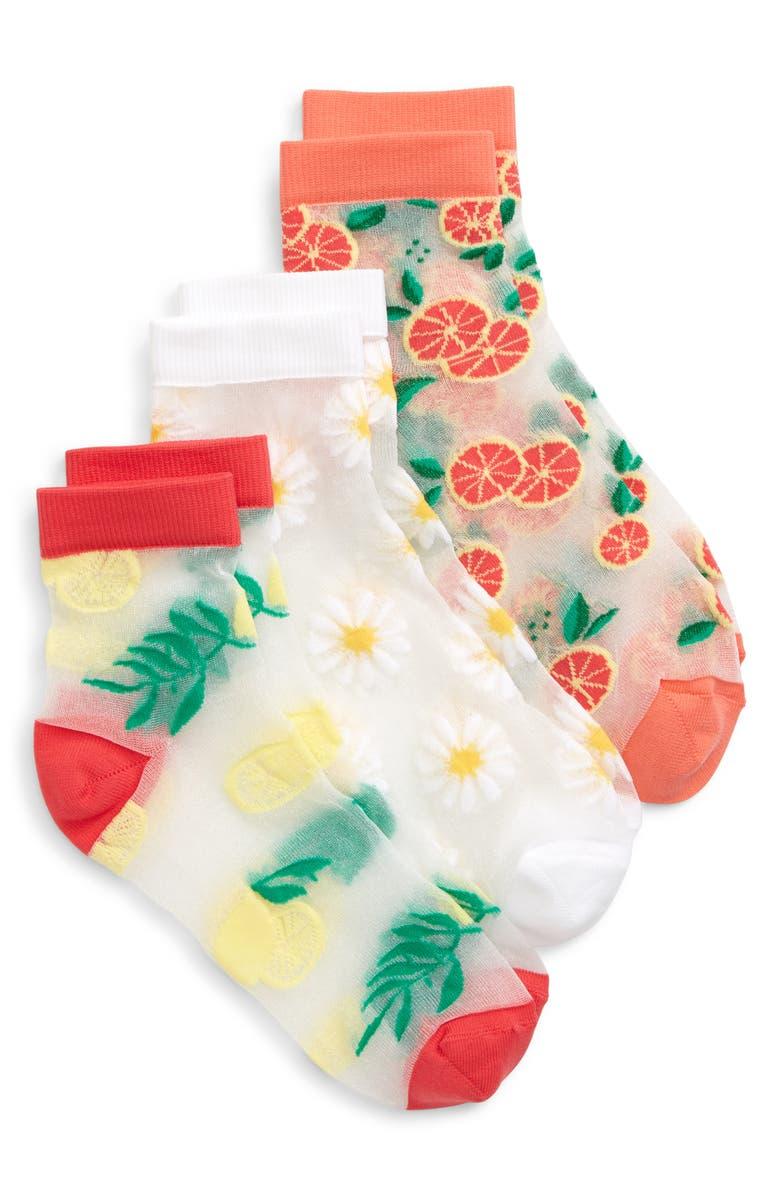 TUCKER + TATE Citrus Garden 3-Pack Sheer Socks, Main, color, 680