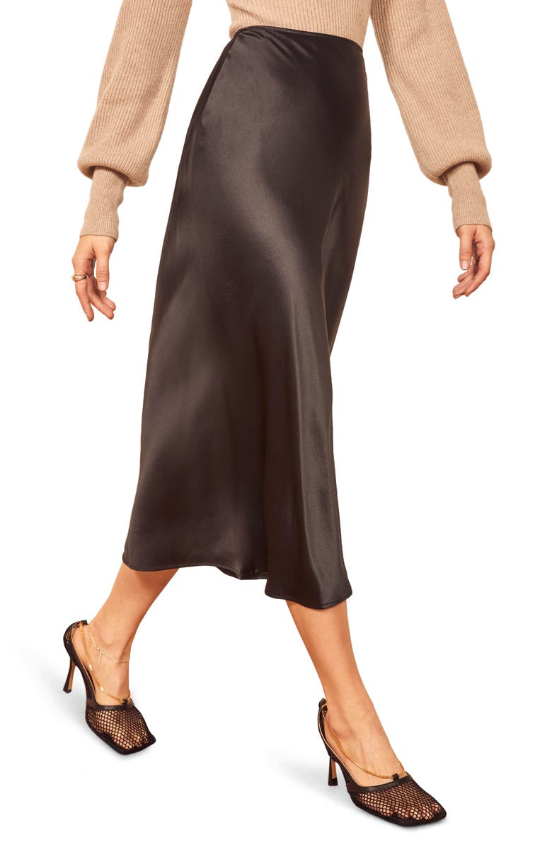 REFORMATION Pratt Silk Midi Skirt, Main, color, BLACK