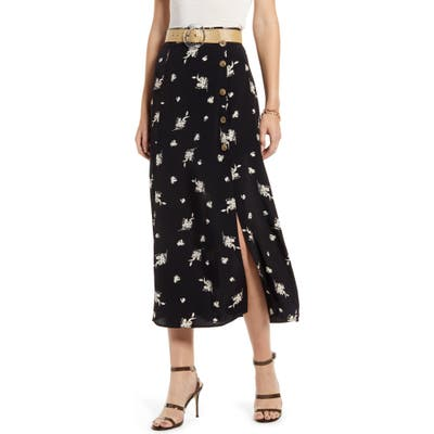 Something Navy High Waist Midi Skirt, Black (Nordstrom Exclusive)