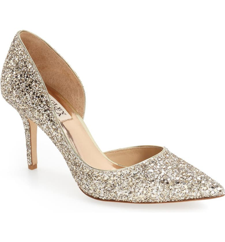 BADGLEY MISCHKA COLLECTION Badgley Mischka 'Daisy' Embellished Pointy Toe Pump, Main, color, PLATINO GLITTER FABRIC