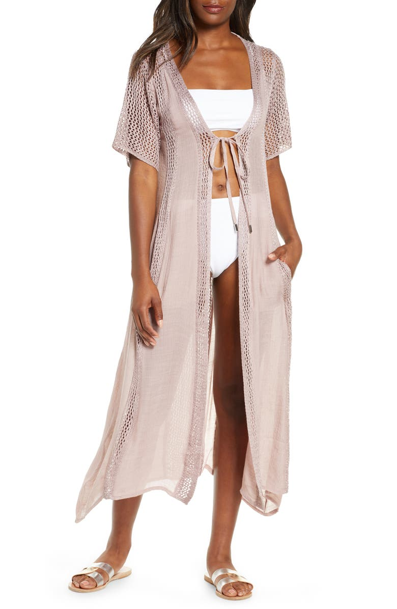 ELAN Crochet Panel Swim Cover-Up, Main, color, LILAC