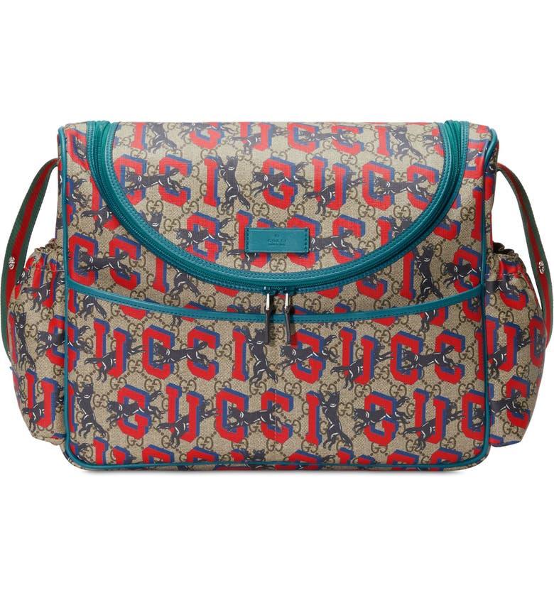 GUCCI Wolf GG Supreme Diaper Bag, Main, color, B.EB.MUL/ ZAFFIRO/ VRV