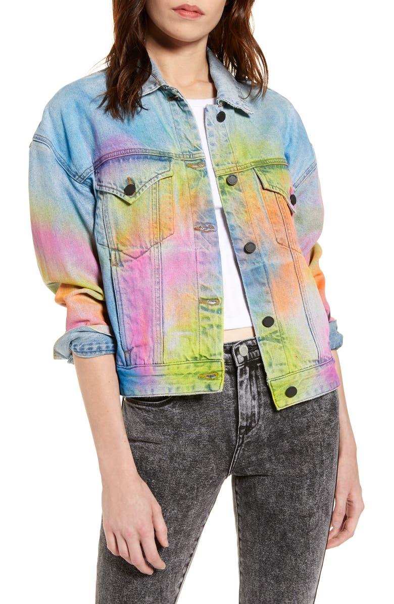 BLANKNYC Airbrushed Denim Trucker Jacket, Main, color, GOOD RIDDANCE