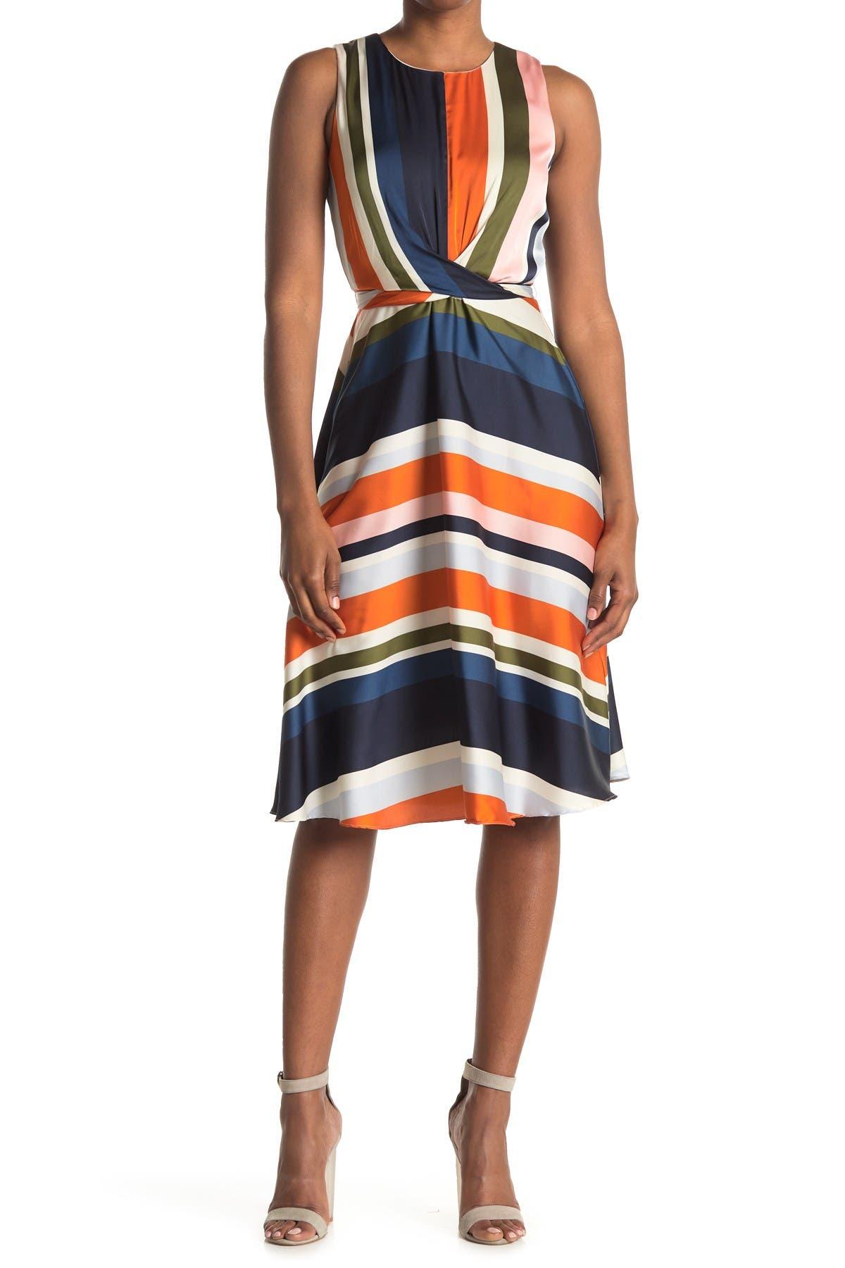 Image of London Times Charmeuse Satin Stripe Print Dress
