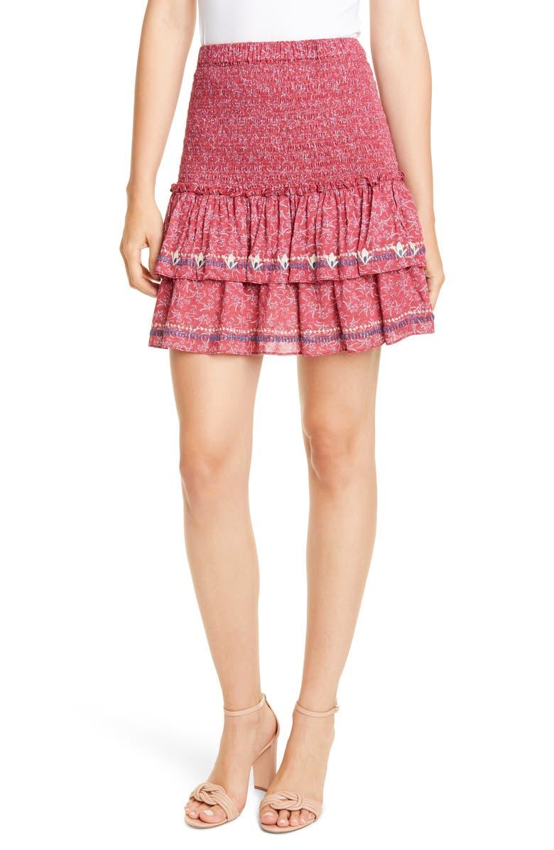 DOLAN Embroidered Tiered Smocked Miniskirt, Main, color, RASPBERRY LAUREL PRINT