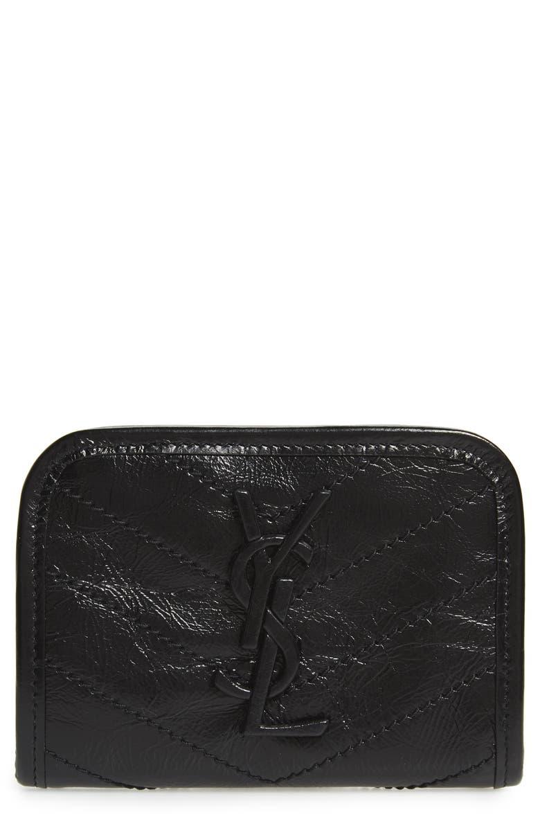 SAINT LAURENT Niki Quilted Leather Wallet, Main, color, NOIR
