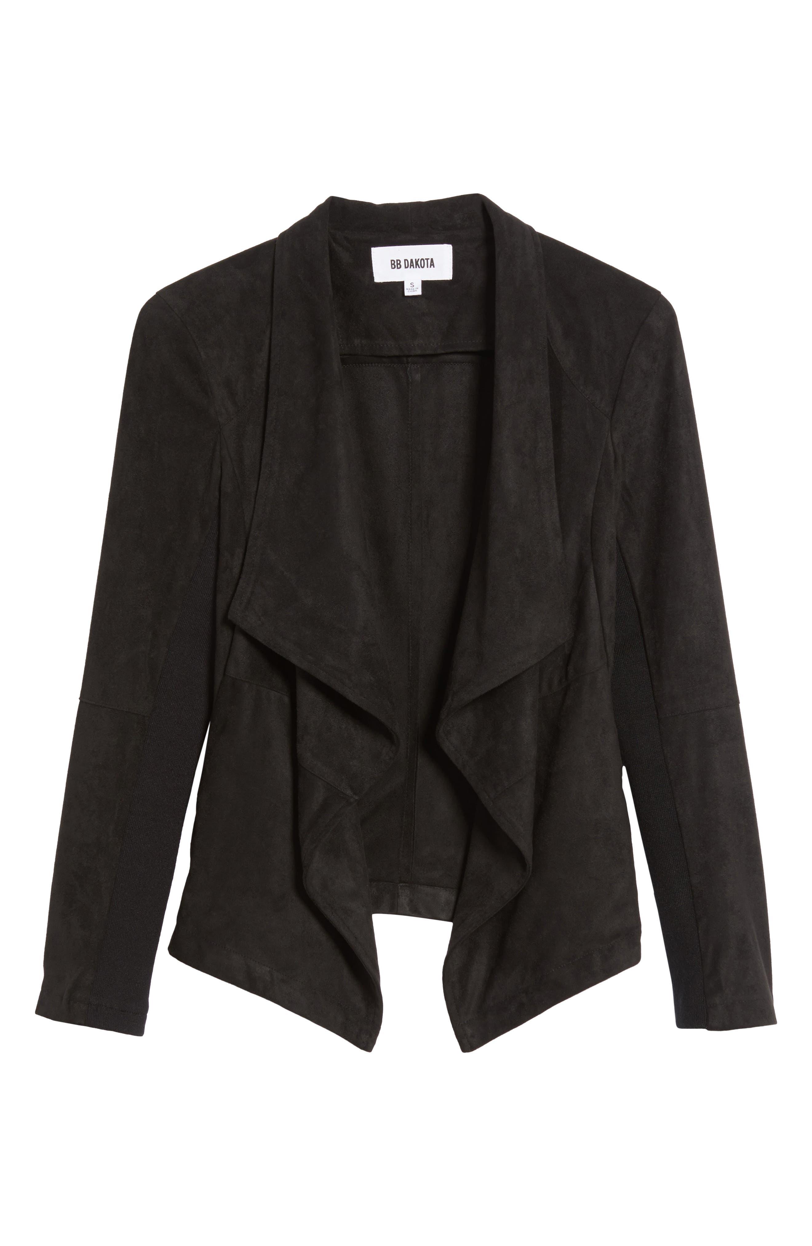 ,                             Nicholson Faux Suede Drape Front Jacket,                             Alternate thumbnail 75, color,                             002