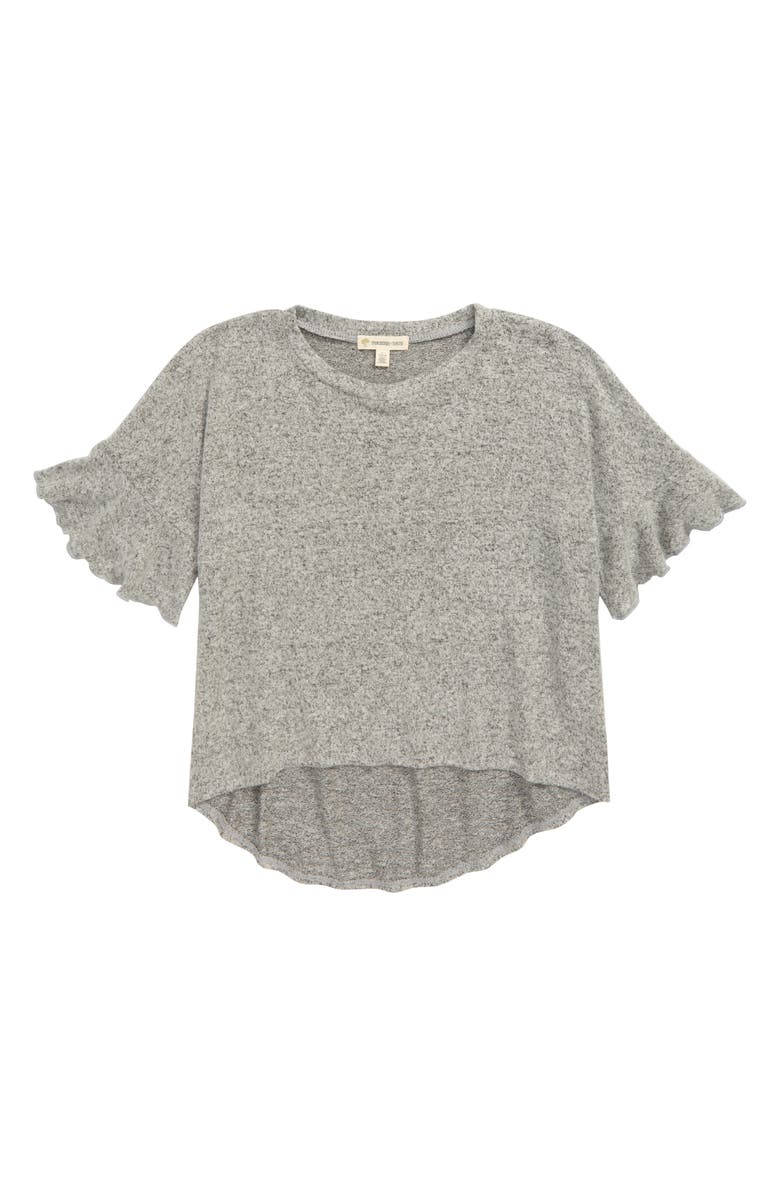 TUCKER + TATE Ruffle Knit Top, Main, color, GREY ASH HEATHER