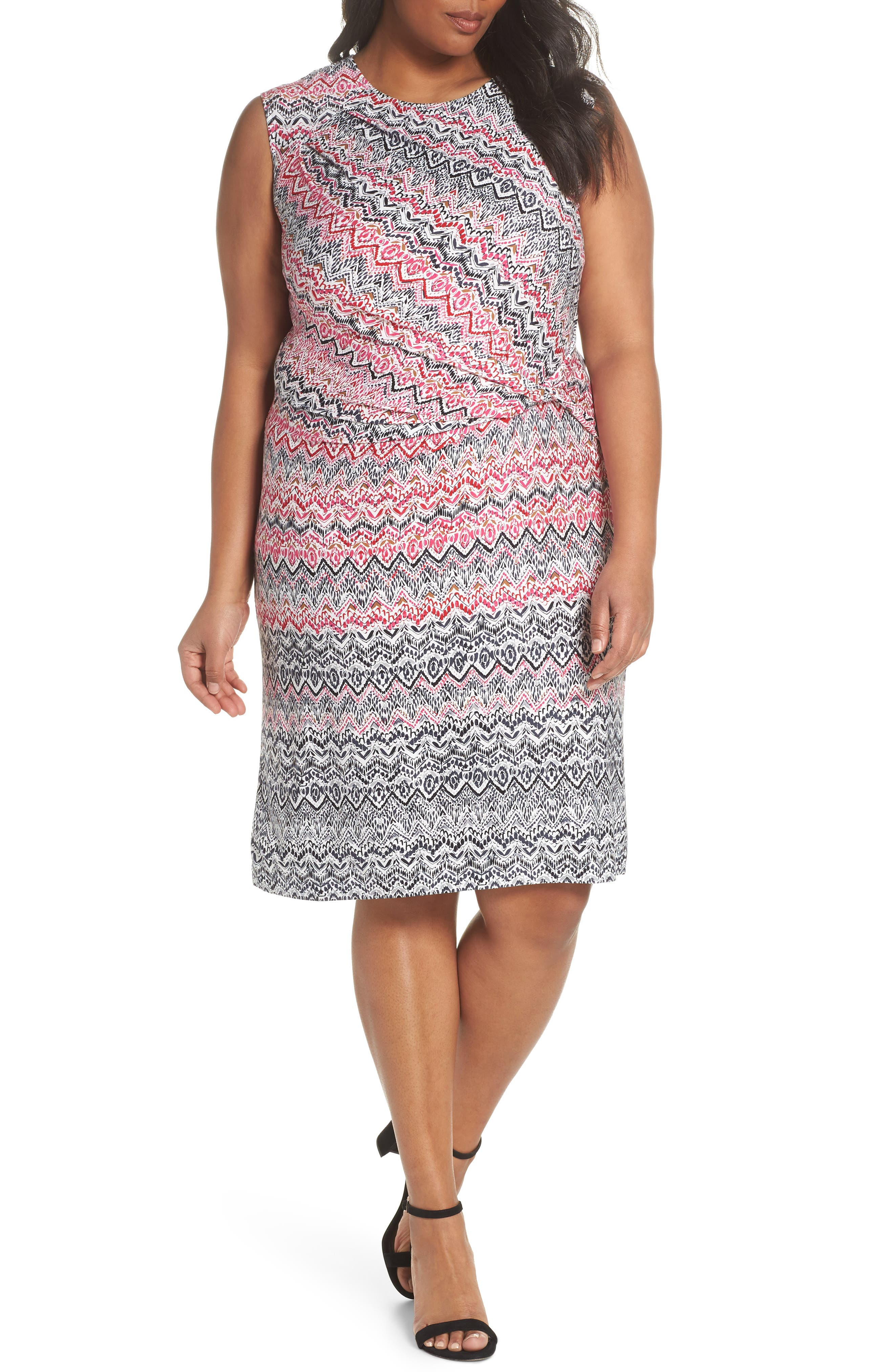 Plus Size Nic+Zoe Spiced Up Twist Sheath Dress, Pink