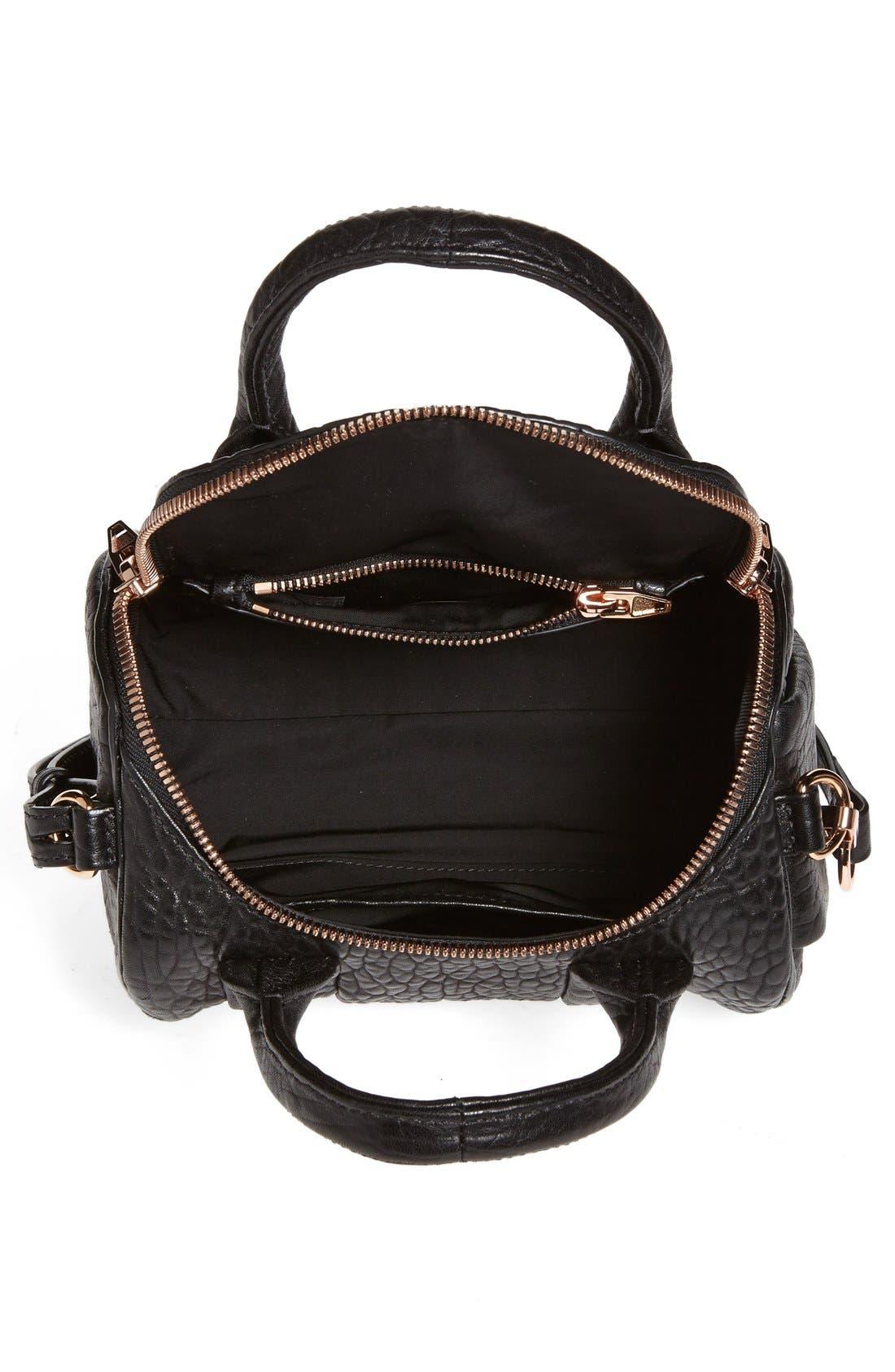 ,                             'Mini Rockie - Rose Gold' Leather Crossbody Satchel,                             Alternate thumbnail 5, color,                             BLACK