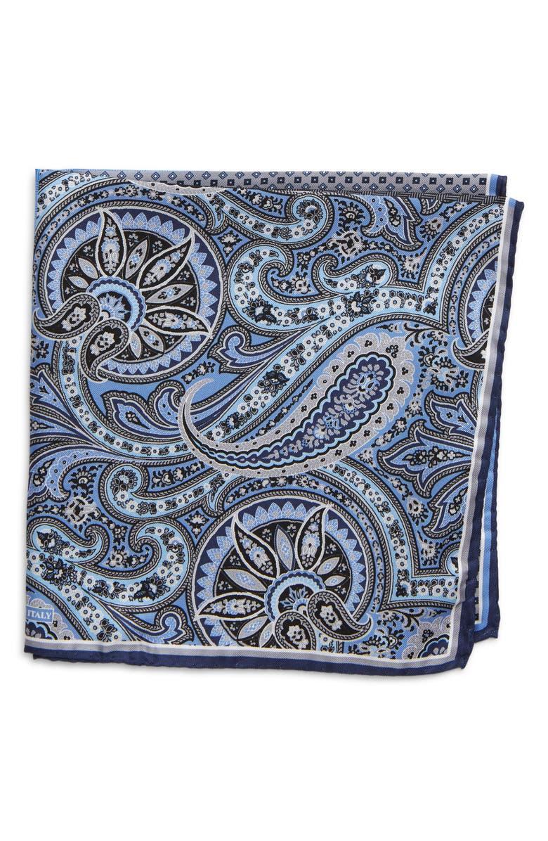 NORDSTROM MEN'S SHOP Silk Pocket Square, Main, color, GREY/ BLACK