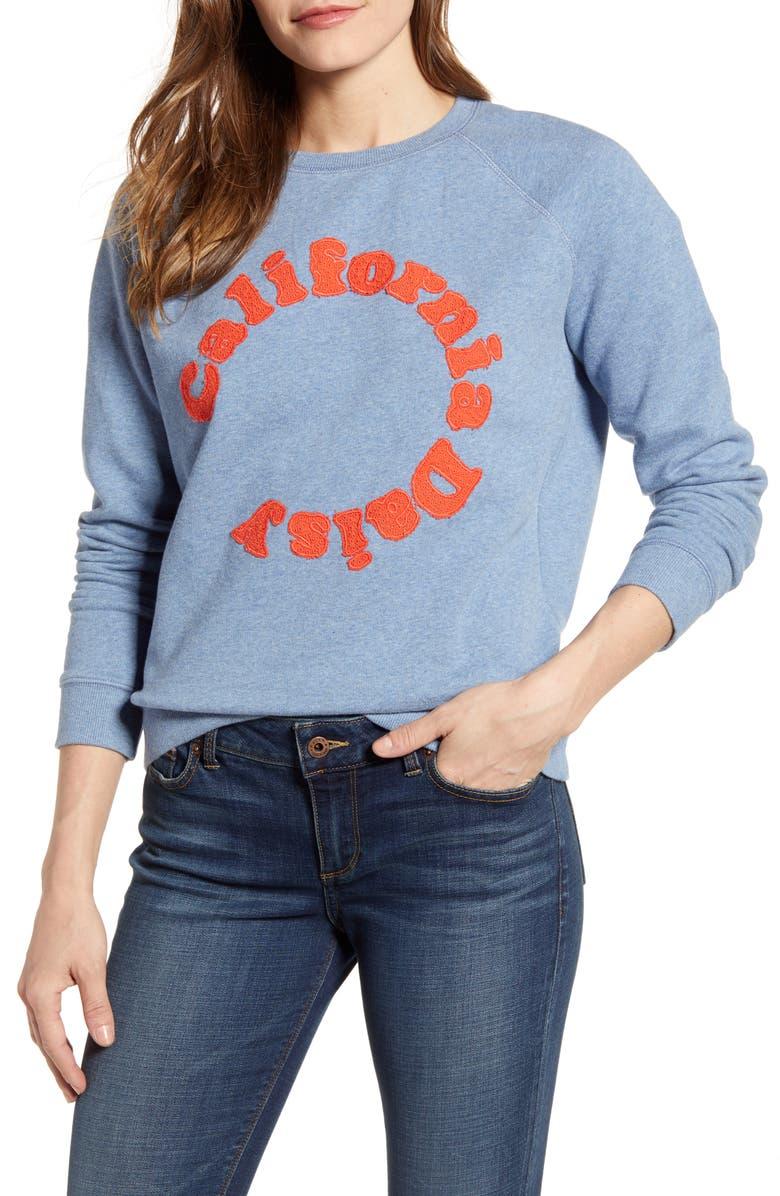 LUCKY BRAND California Daisy Sweatshirt, Main, color, BLUE MULTI