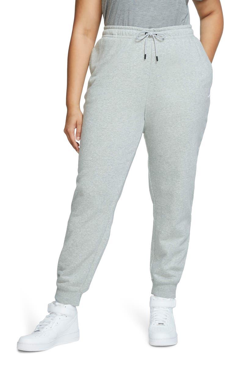 NIKE Sportswear Essential Fleece Pants, Main, color, DK GREY HEATHER/ WHITE