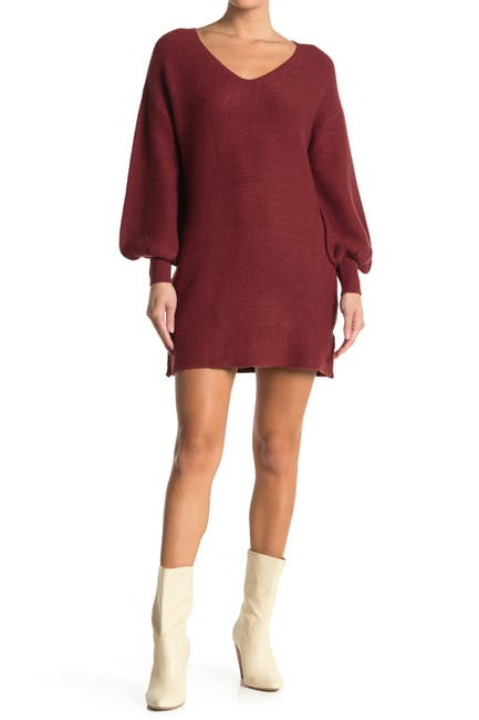 Image of Love Stitch V-Neck Bishop Sleeve Knit Mini Dress