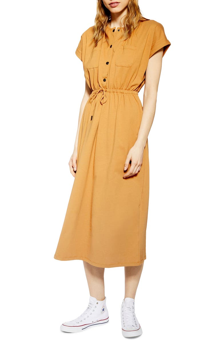 TOPSHOP Popper Midi Dress, Main, color, RUST