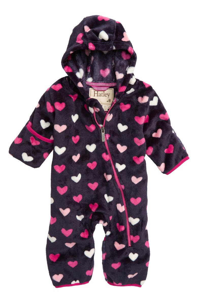 HATLEY Lovey Hearts Fuzzy Fleece Hooded Jumpsuit, Main, color, BLUE