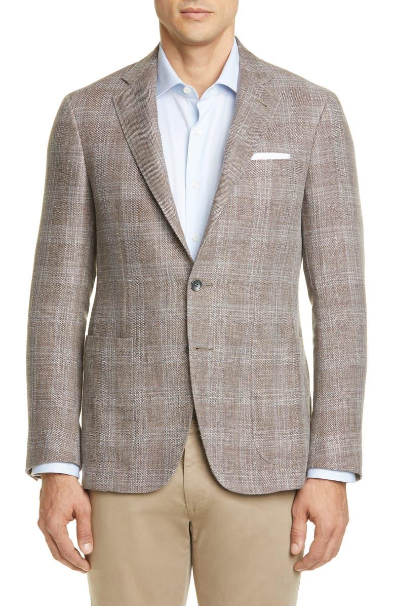 CANALI Kei Trim Fit Plaid Linen & Wool Sport Coat, Main, color, BEIGE