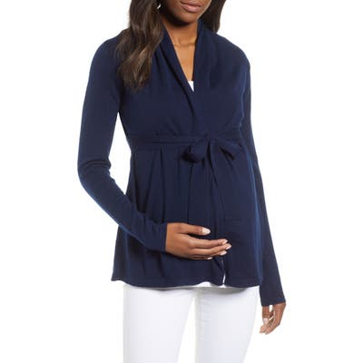 Angel Maternity Wool Blend Maternity Cardigan, Blue