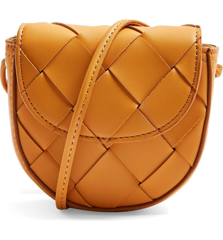 TOPSHOP Mini Woven Faux Leather Shoulder Bag, Main, color, ORANGE
