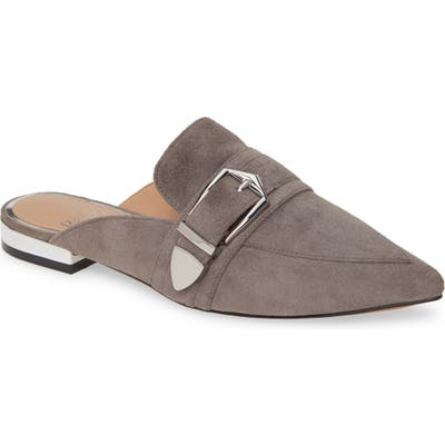 Linea Paolo Ace Buckle Pointed Toe Mule, Grey