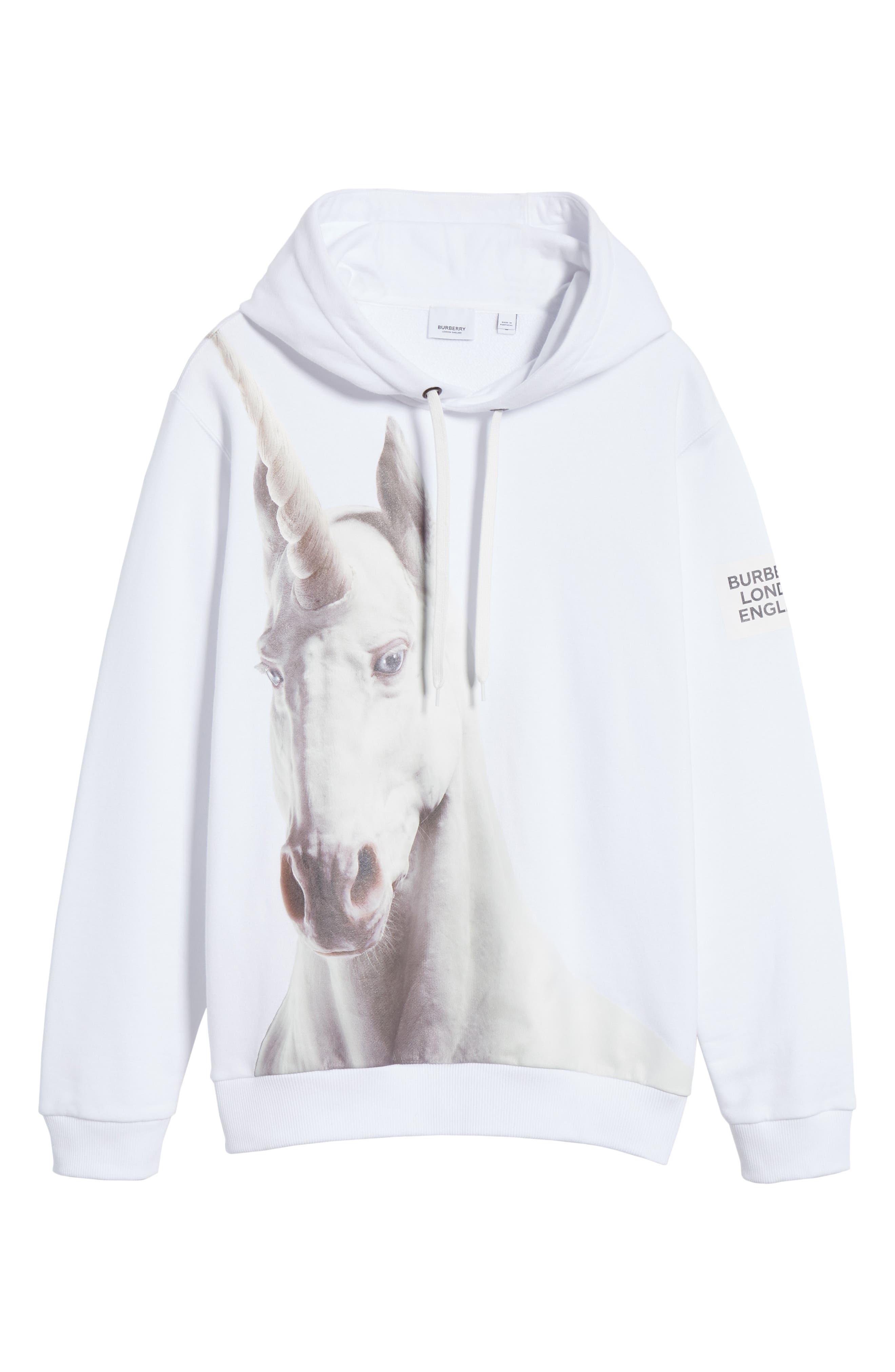 ,                             Unicorn Print Cotton Hoodie,                             Alternate thumbnail 6, color,                             WHITE