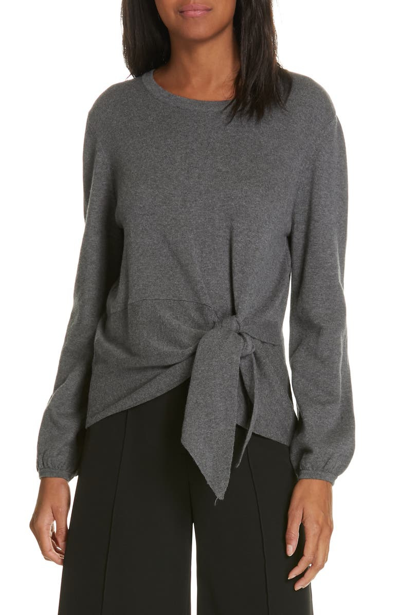 MILLY Tie Front Balloon Sleeve Sweater, Main, color, 020