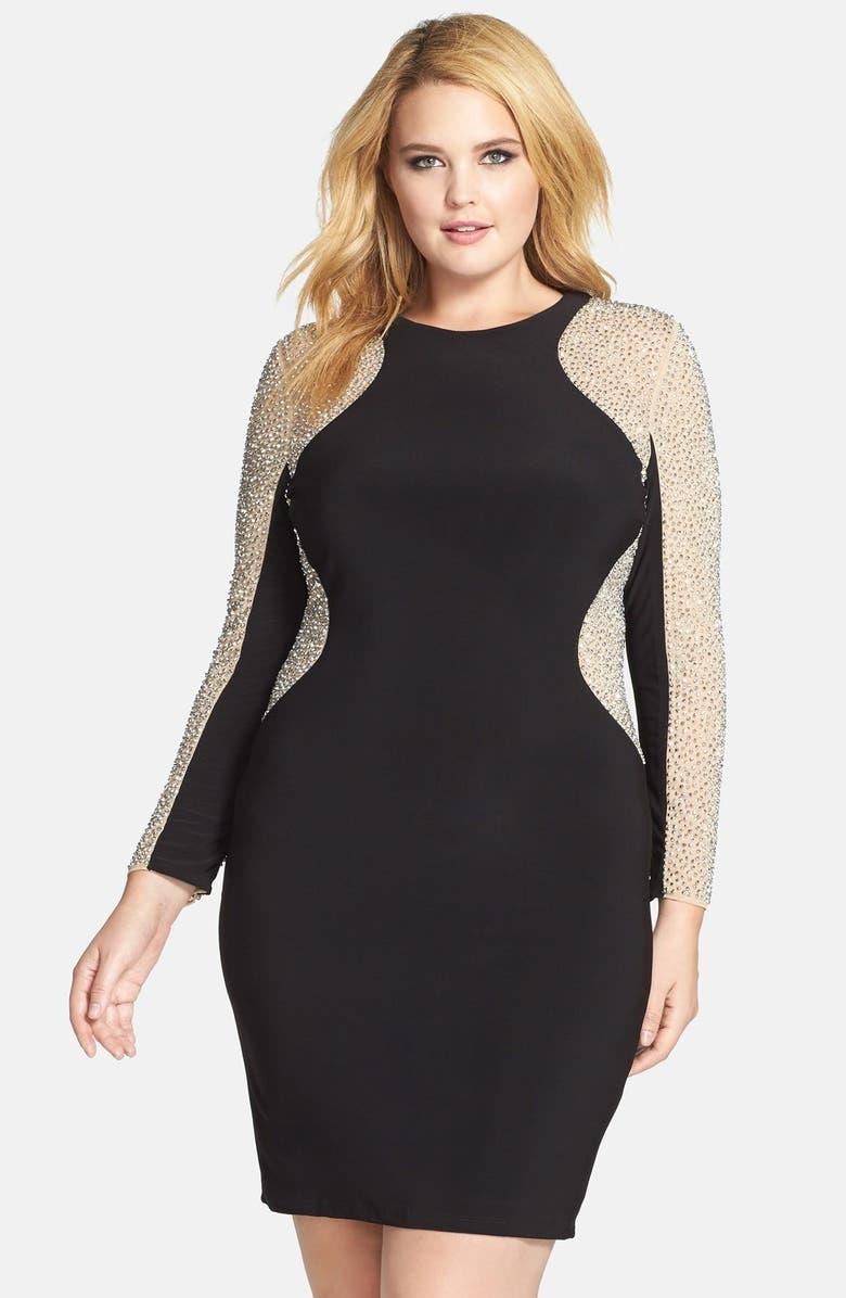 Beaded Illusion Sleeve Jersey Body-Con Dress