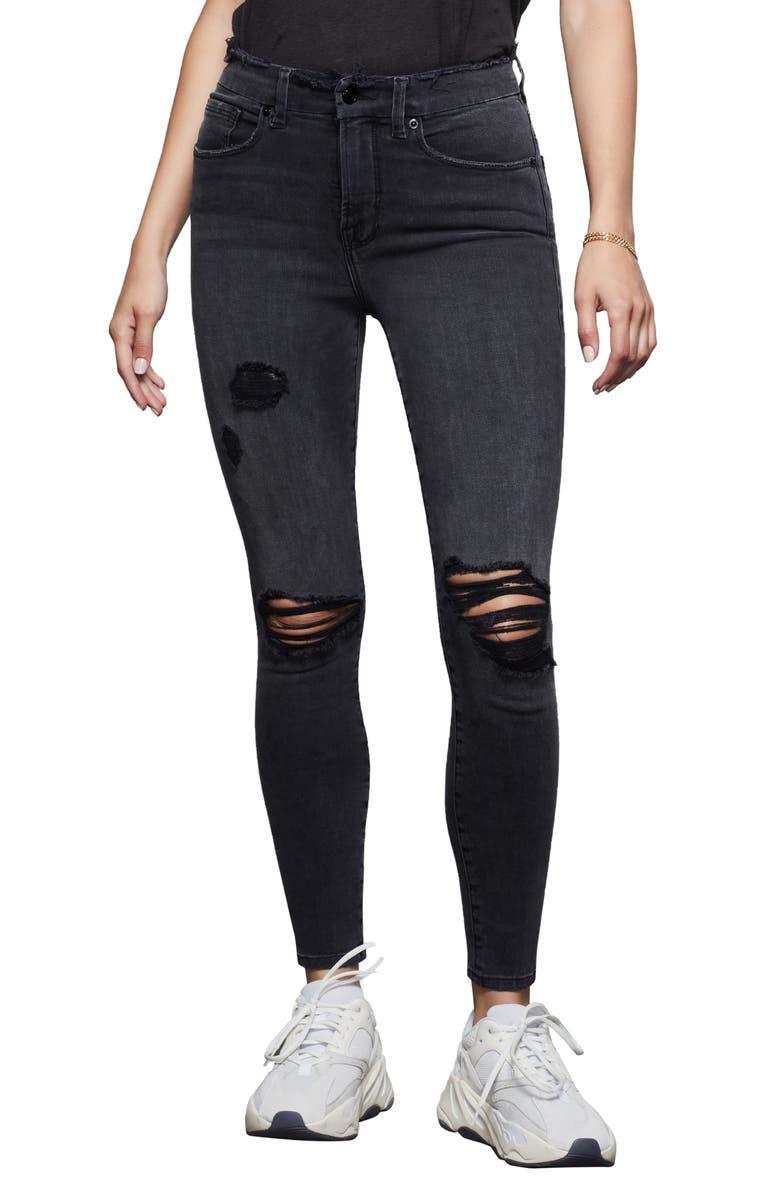 GOOD AMERICAN Good Legs High Waist Crop Skinny Jeans, Main, color, BLACK070