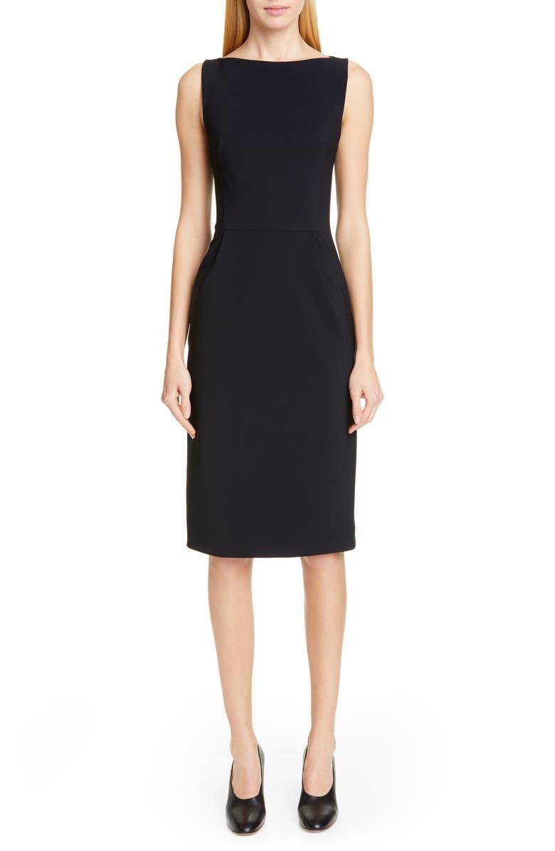 ADAM LIPPES Bonded Neoprene Sheath Dress, Main, color, BLACK