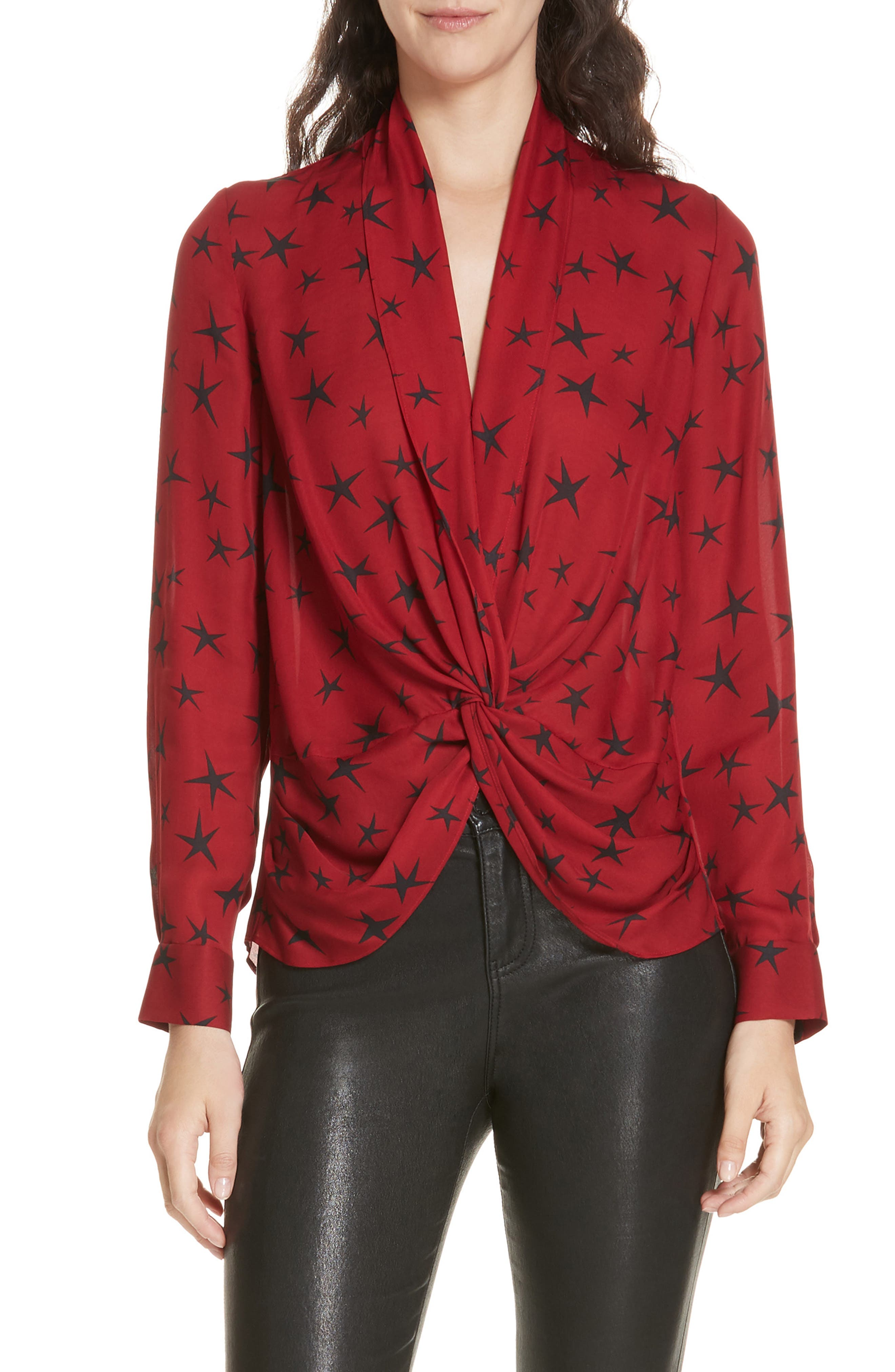 Mariposa Print Twist Front Silk Blouse, Main, color, 640