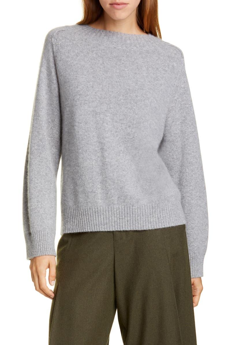 VINCE Raglan Sleeve Cashmere & Silk Sweater, Main, color, MEDIUM HEATHER GREY