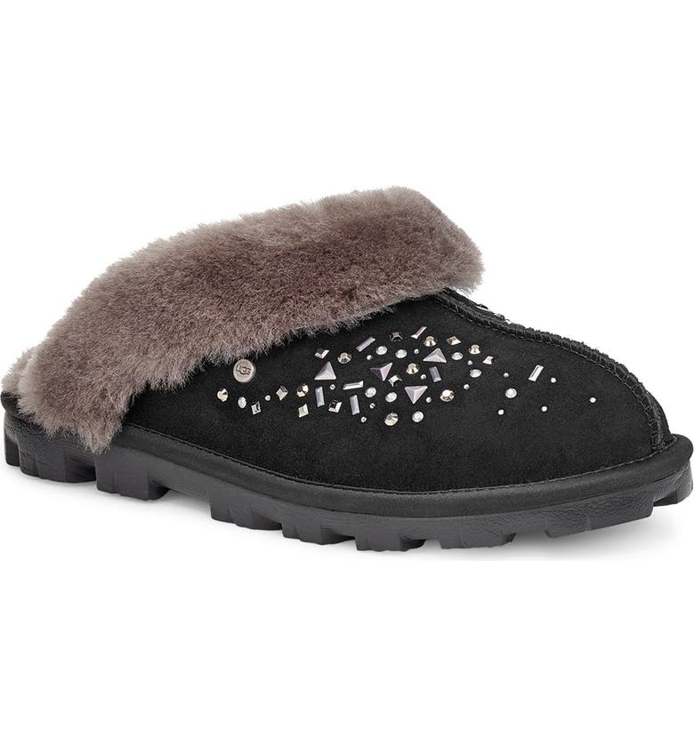UGG<SUP>®</SUP> Galaxy Genuine Shearling Slipper, Main, color, BLACK
