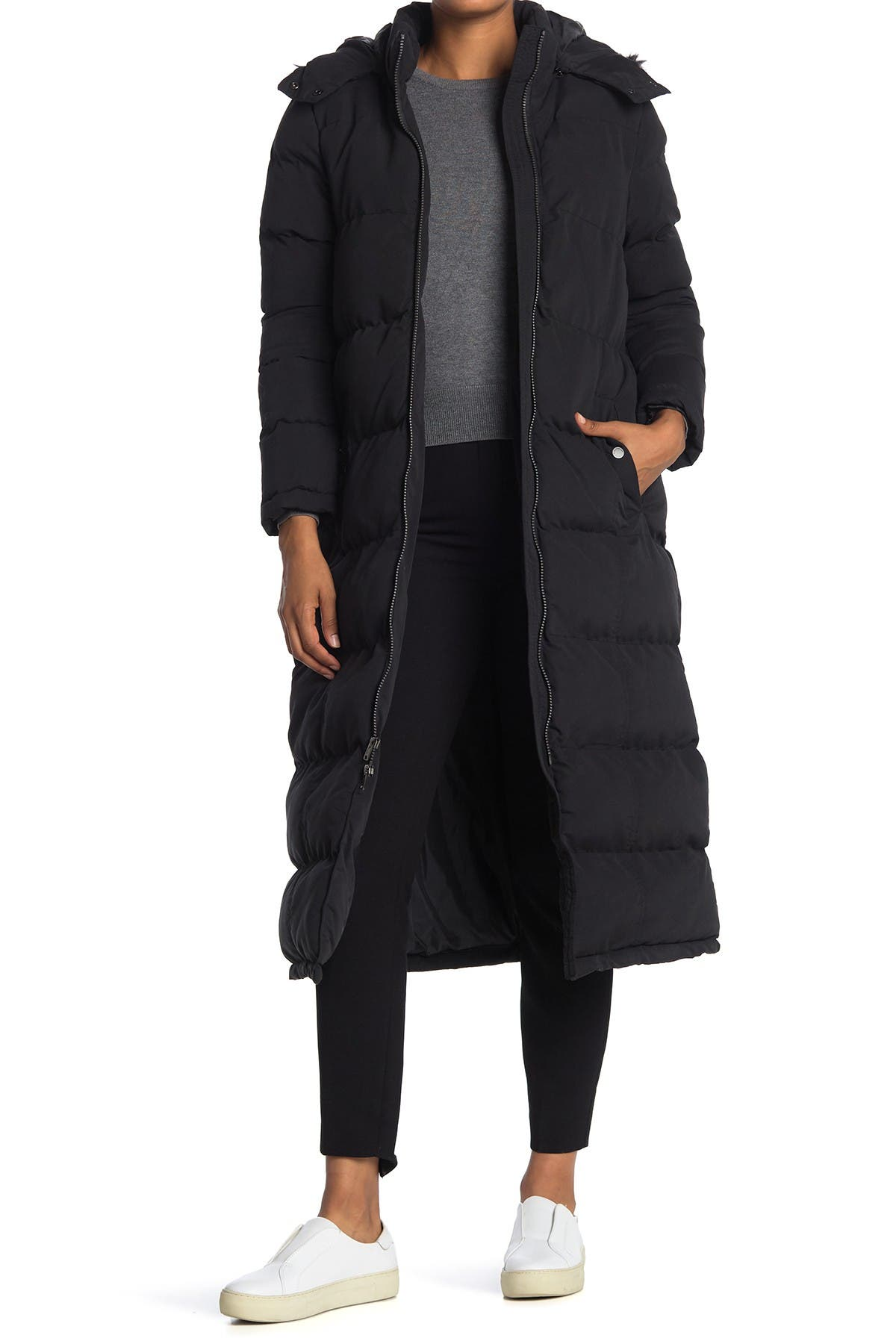 Image of Andrew Marc Tambos Long Puffer Faux Fur Trim Jacket