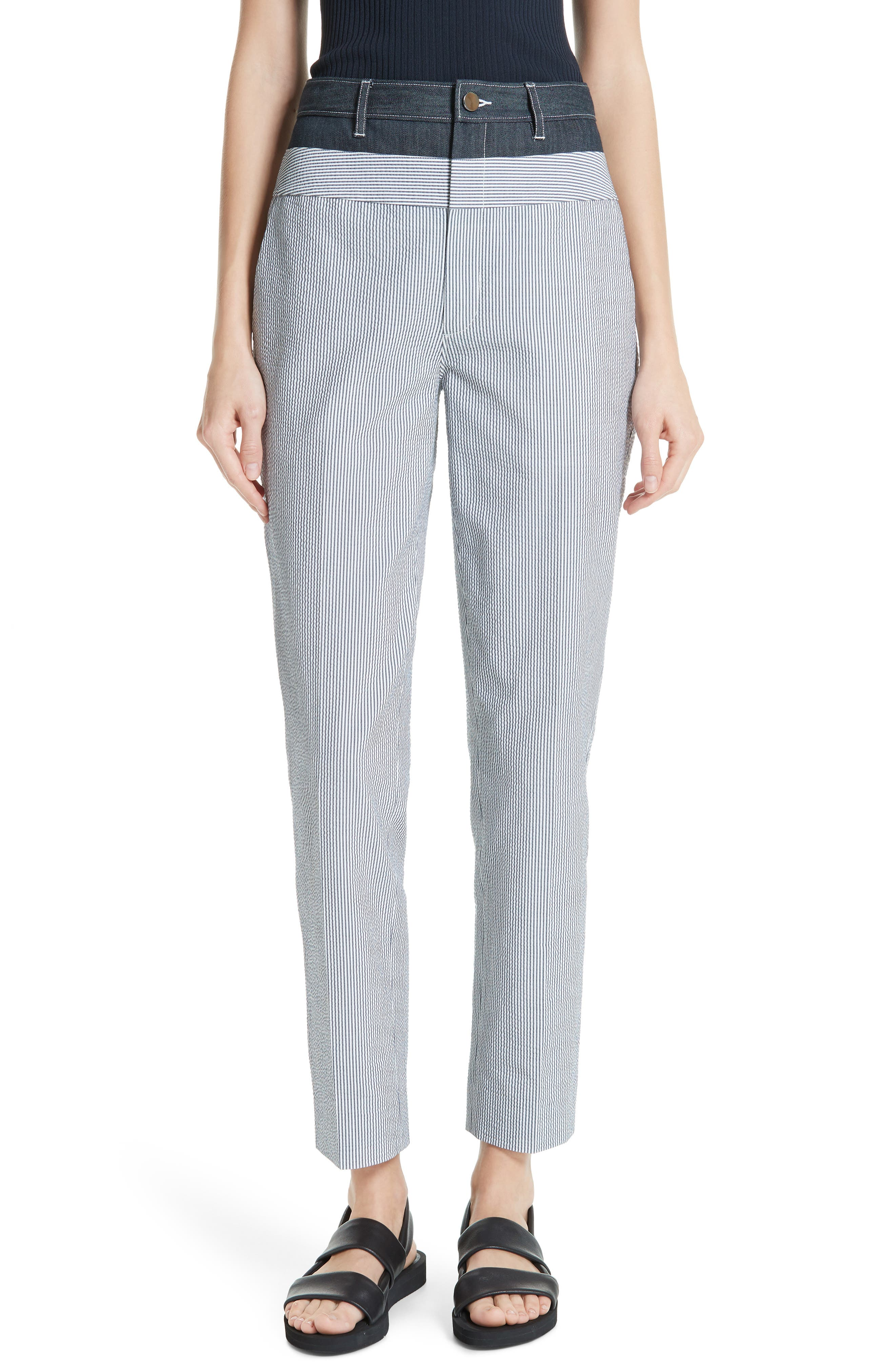 Denim & Seersucker Pants, Main, color, TWILIGHT/ STAR WHITE