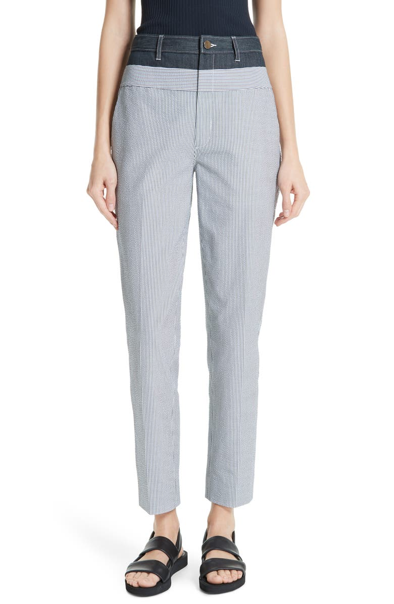 JASON WU Denim & Seersucker Pants, Main, color, 020