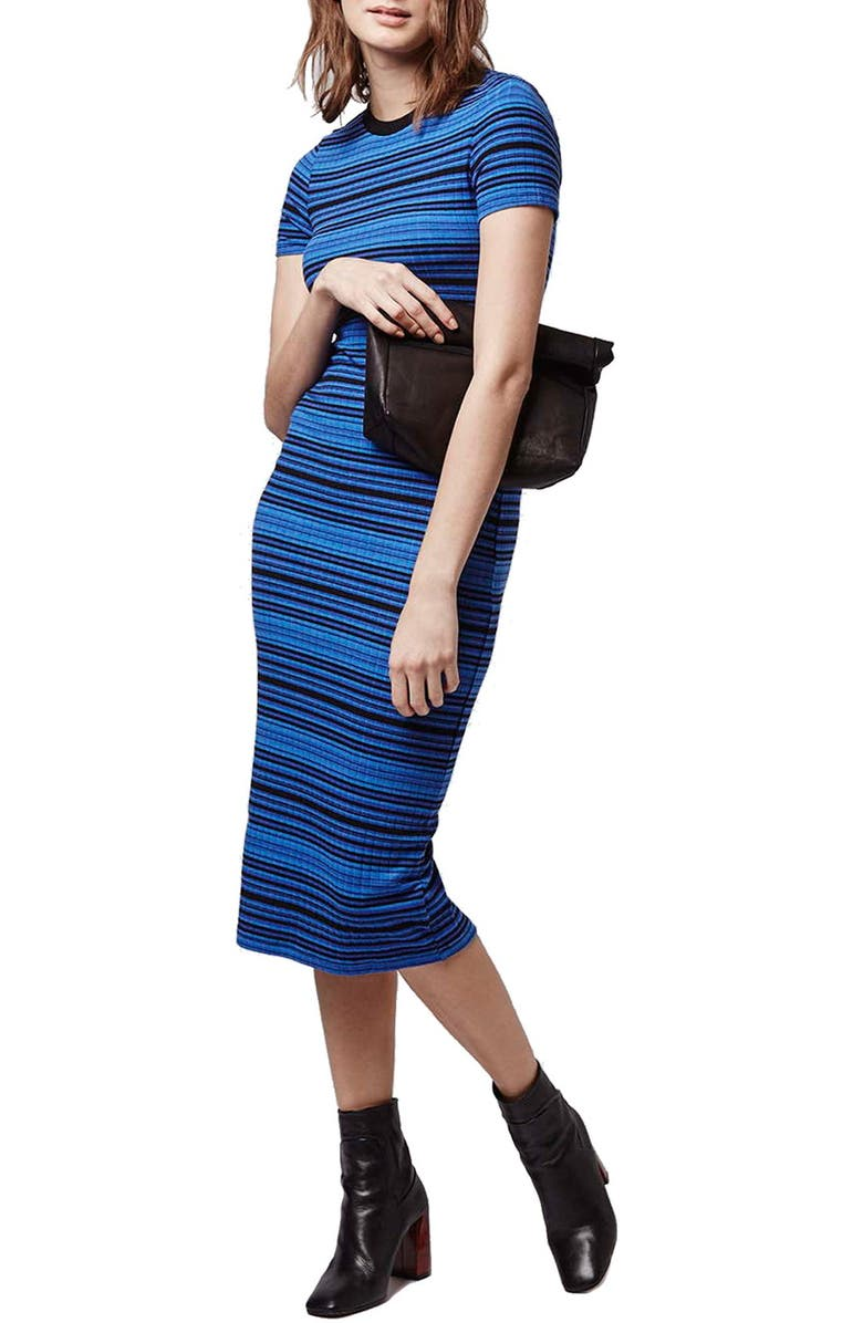 TOPSHOP Stripe Body-Con Midi Dress, Main, color, 400